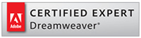 Adobe Certified Dreamweaver Expert. Logo.