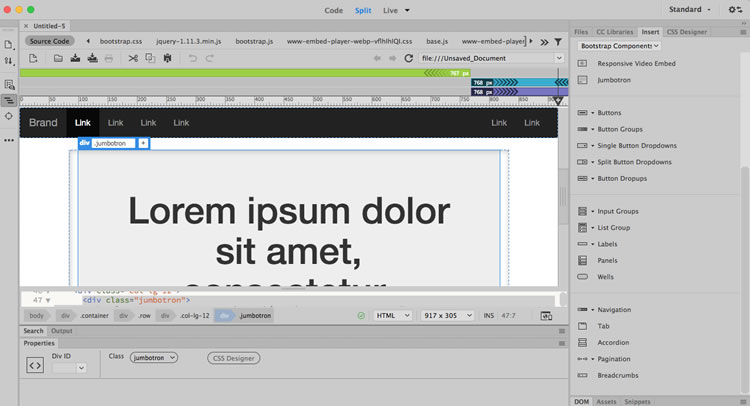 Bootstrap, Dreamweaver CC. Skjermbilde.